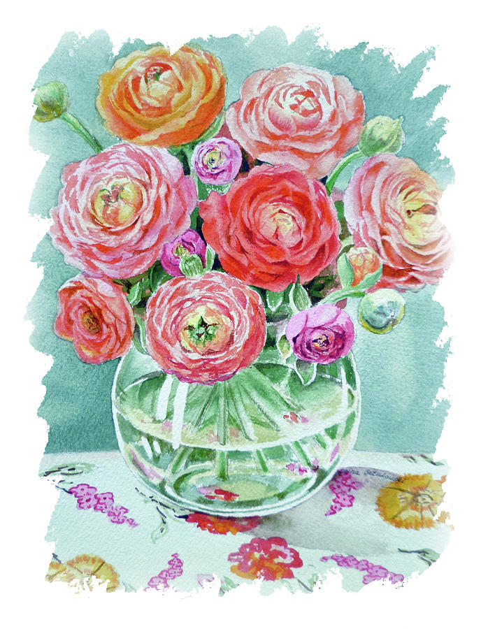 Impulse Of Nature Watercolor Ranunculus Flower Free Brush Strokes X Painting