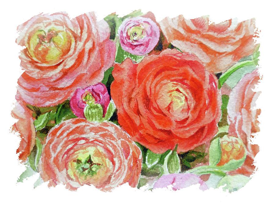Impulse Of Nature Watercolor Ranunculus Flowers Free Brush Strokes Ix Painting