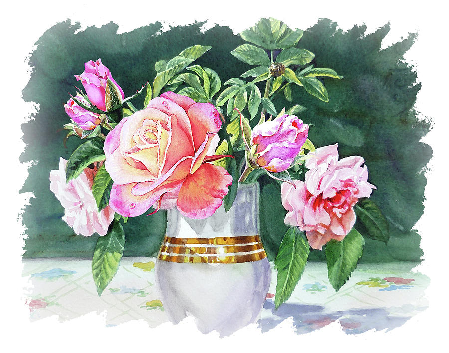 Impulse Of Nature Watercolor Roses In Vase Bouquet Free Brush Strokes Xi Painting