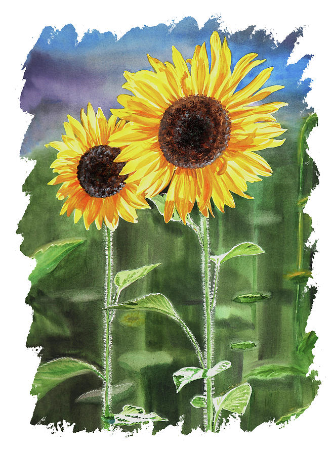 Impulse Of Nature Watercolor Sunflowers Free Brush Strokes I Painting