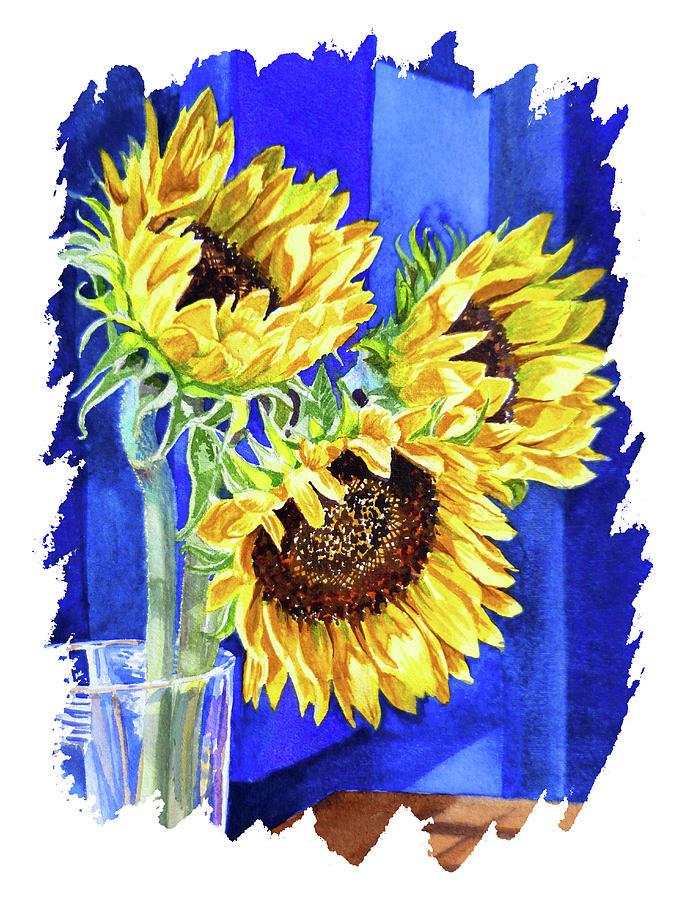 Impulse Of Nature Watercolor Sunflowers Free Brush Strokes II Painting