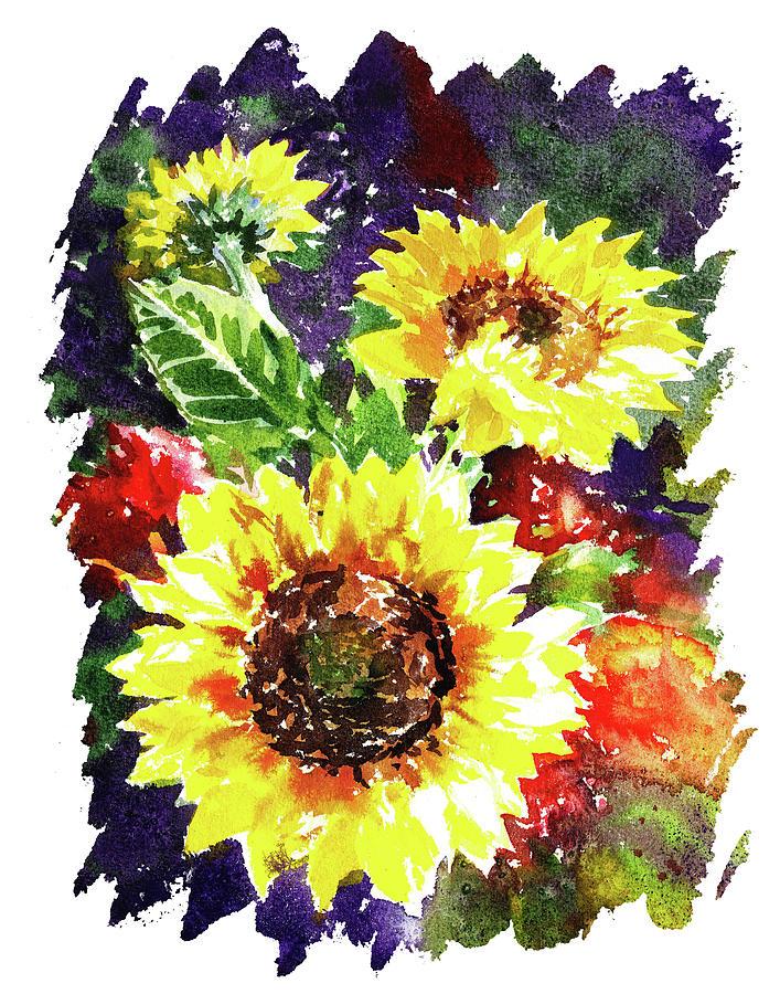 Impulse Of Nature Watercolor Sunflowers Free Brush Strokes IIi Painting