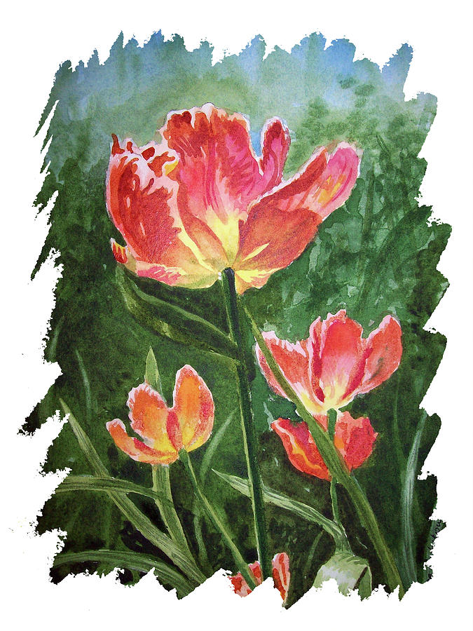 Impulse Of Nature Watercolor Tulips With Free Brush Strokes I Painting