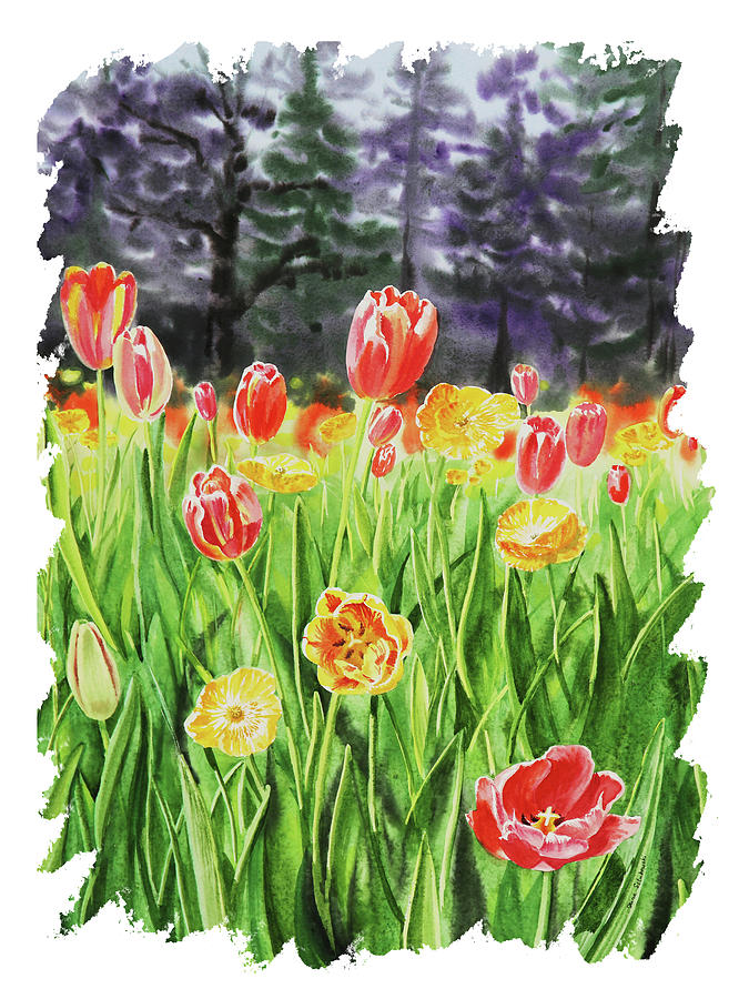 Impulse Of Nature Watercolor Tulips With Free Brush Strokes IIi Painting