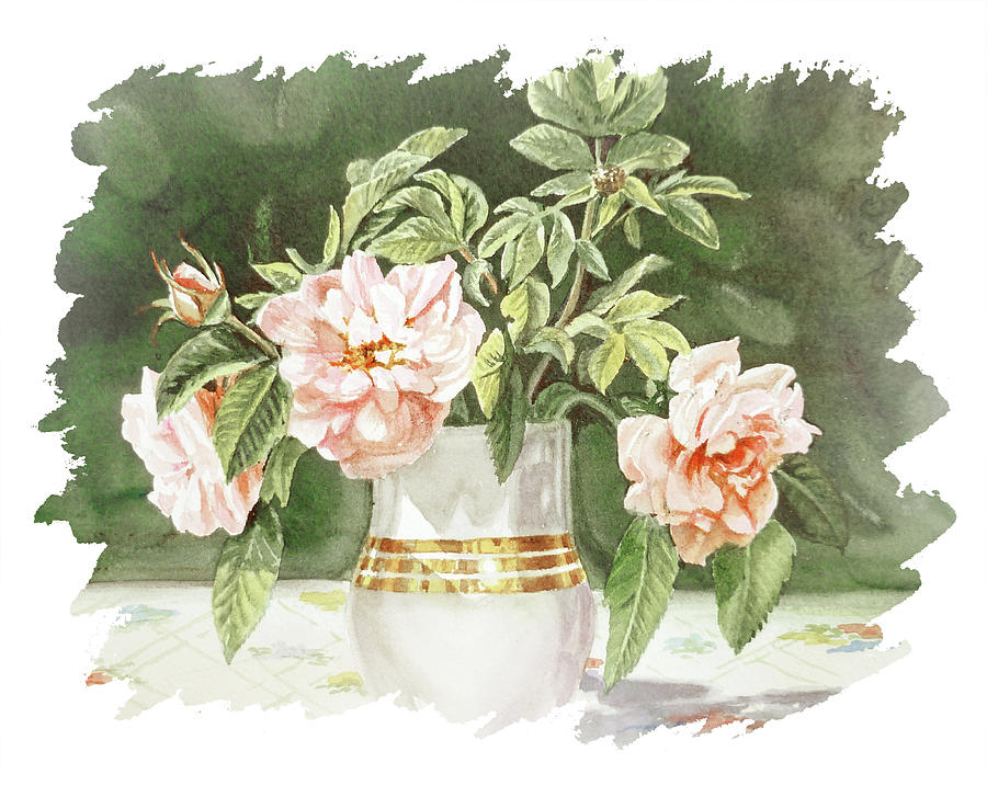 Impulse Of Nature Watercolor Vintage Roses In Vase Bouquet Free Brush Strokes Xii Painting