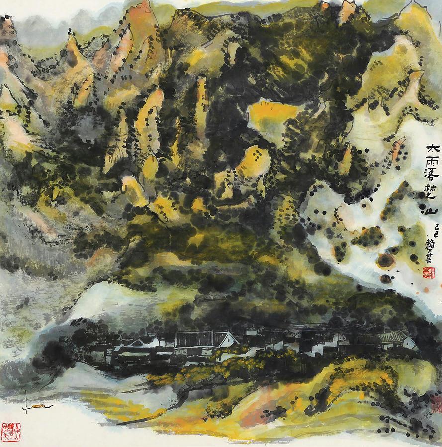 Lai Painting - In       It Rained Heavily On Chu Mountain   by Lai Shaoji