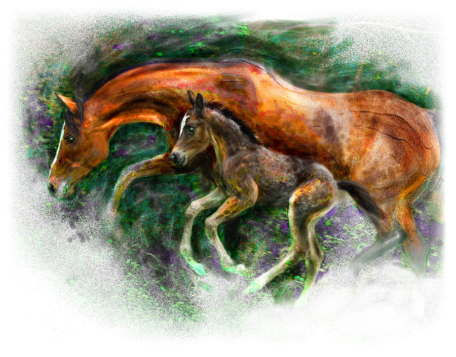 Horse Painting - In Harmony Three Days Old Arabian Mare Running Foal by Connie Moses