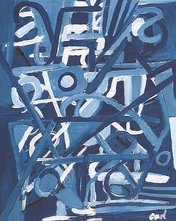 Abstract Painting - In The Midst of Blues by Olivia Dickerson - ArtistoMd