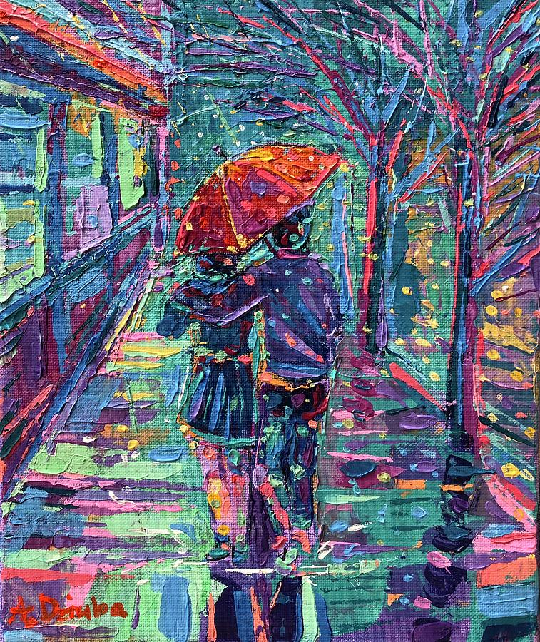 Palette Knife Painting - In the Rain by Adriana Dziuba
