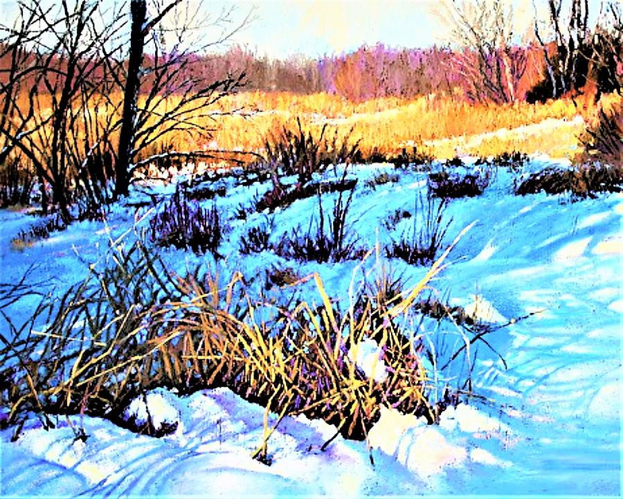 In The Shadows Snow Painting by Joseph Barani