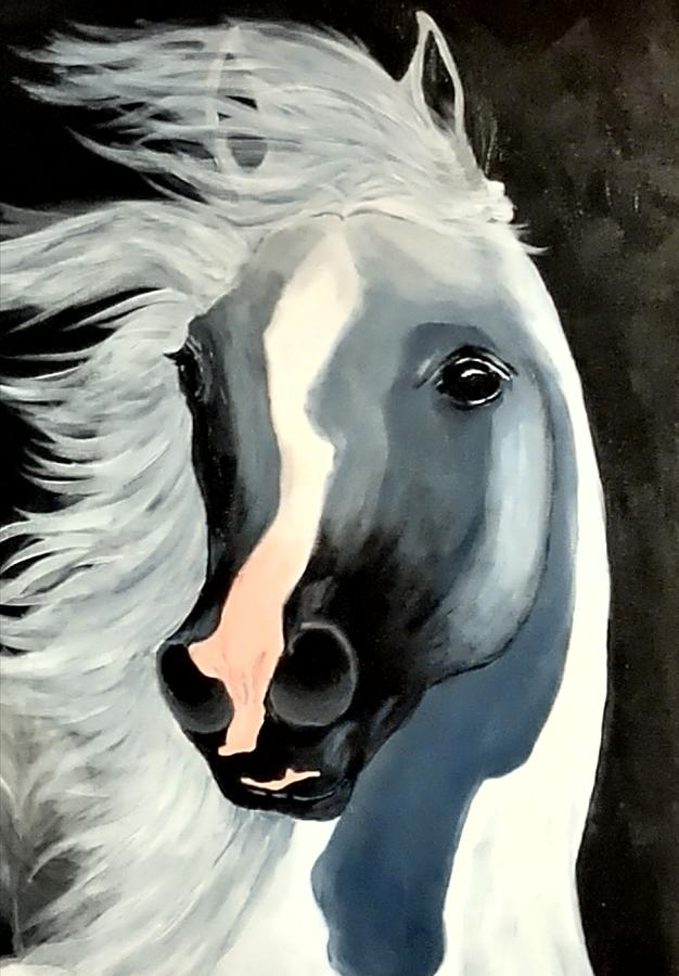 Horse Painting - In the Wind by Diana Cochran