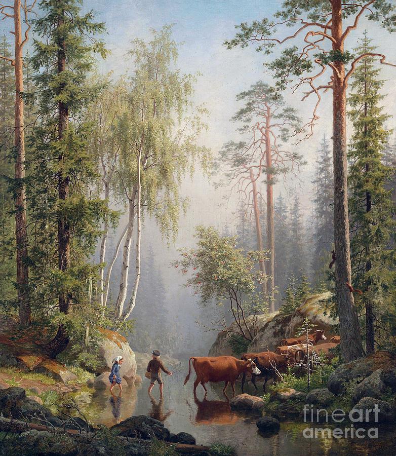 In the Woodland Stream by Carl Bogh