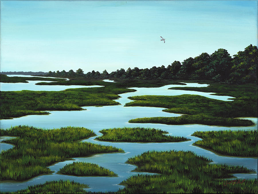 Low Country Painting - In Time and with Water by Carolyn Bland