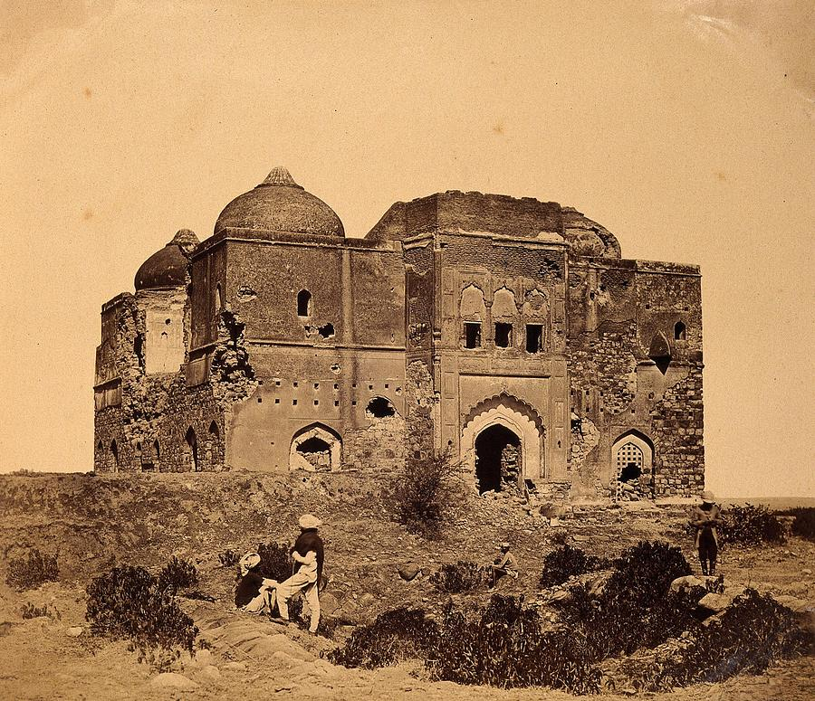 India  A Ruined Mosque. Photograph By F. Beato Painting