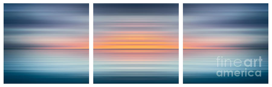 Triptych Digital Art - India Colors - Abstract Wide Oceanscape Triptych by Stefano Senise