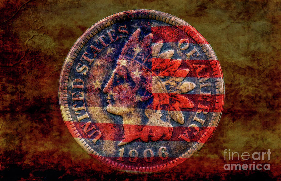 Indian Cent And Flag Digital Art