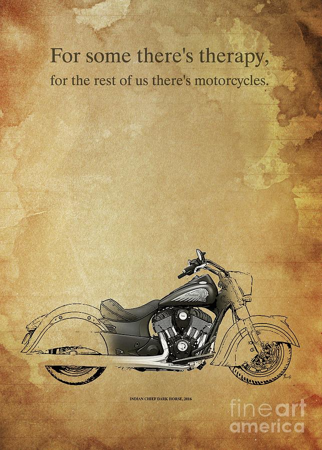 Indian Chief Dark Horse 2016 Motorcycles Quote Drawing