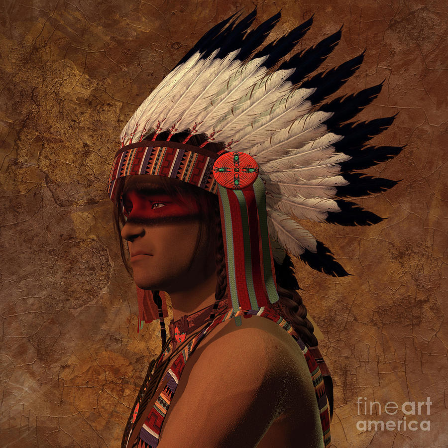 Indian Chief Portrait by Corey Ford