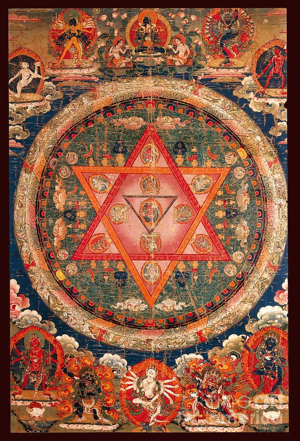 Metaphysical Painting - Indian Shatkona Mandala  by Unknown