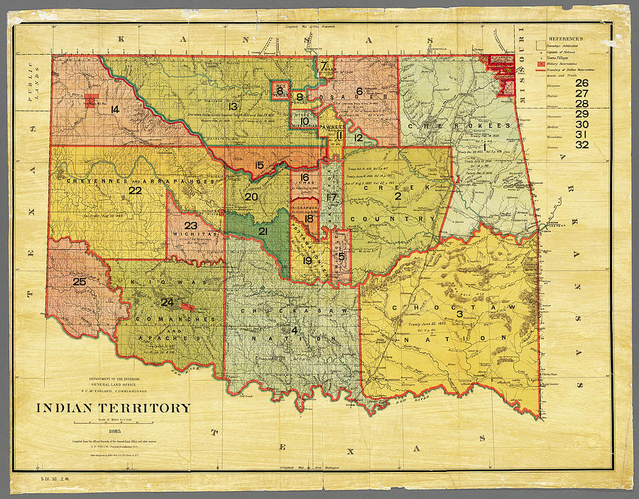 Indian Territory Map 1885 by Phil Cardamone