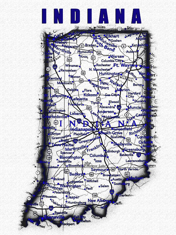 Indiana Blue Print Work Digital Art