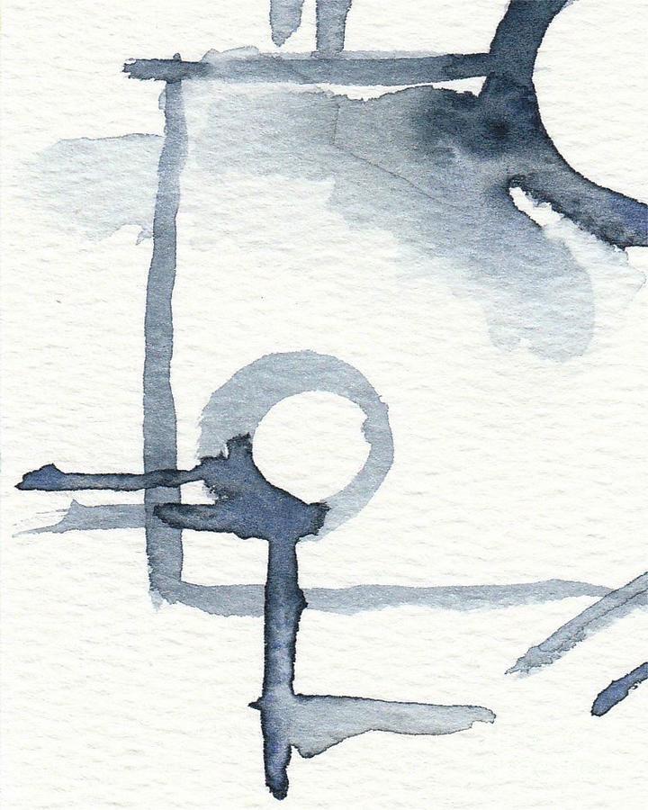 Indigo Abstract Watercolor Painting