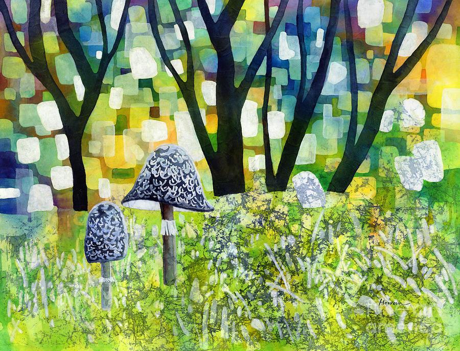 Indigo Mushroom Painting