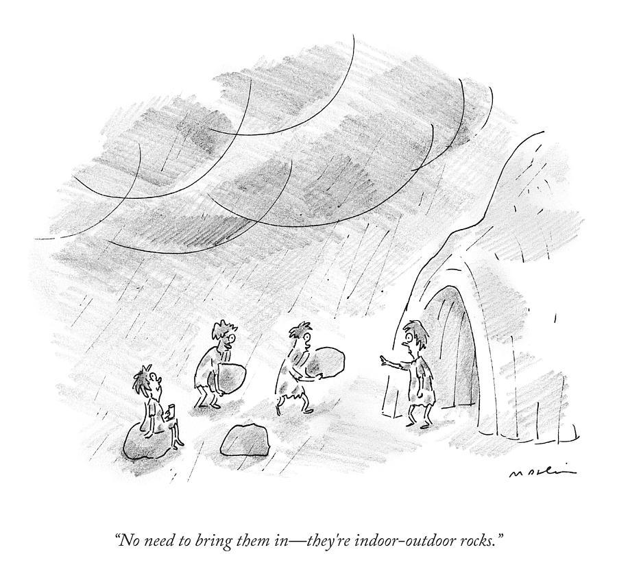 Indoor Outdoor Rocks Drawing by Michael Maslin