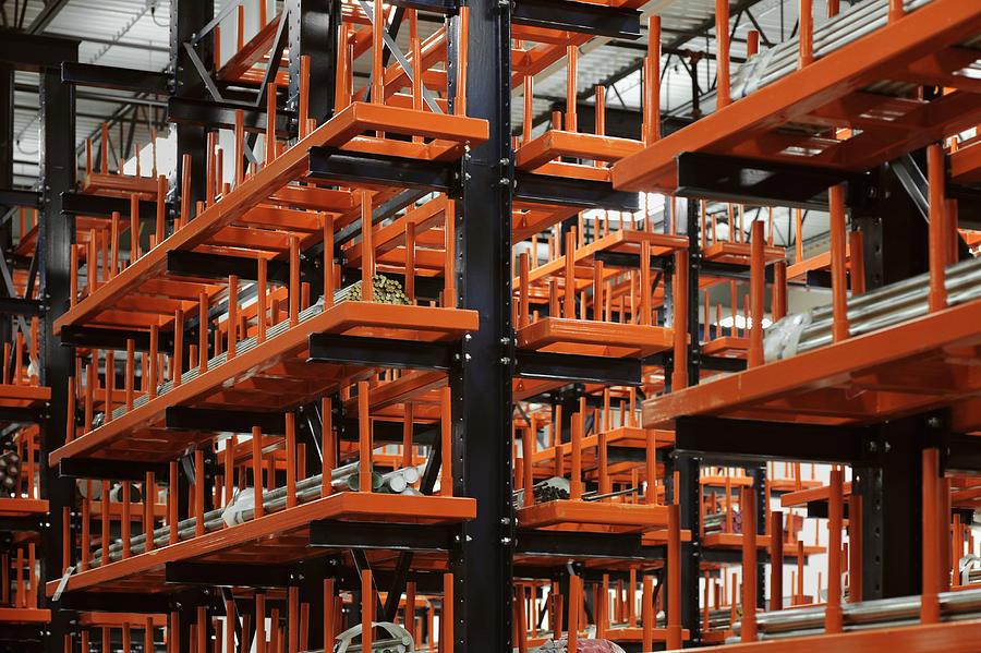Industrial Metal Bars On Huge Racks  Photograph by David Joel