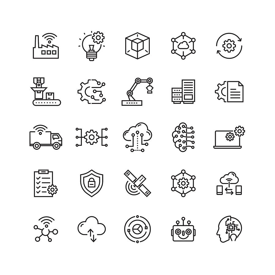 Industry 4.0 Related Vector Line Icons Drawing by Cnythzl