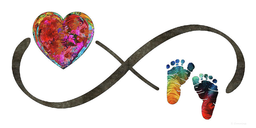 Infinity Symbol Painting - Infinity Baby Love - Always And Forever - Sharon Cummings by Sharon Cummings