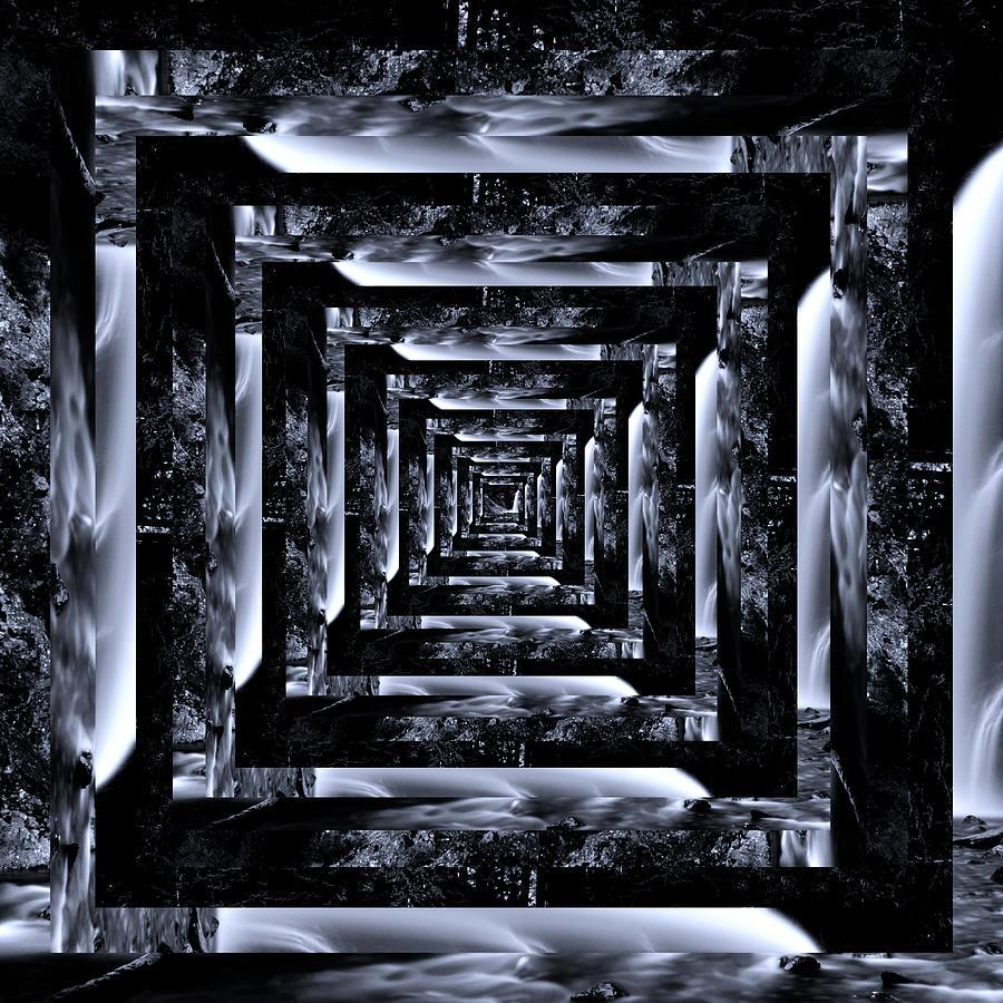 Infinity Tunnel Franklin Falls Black And White Digital Art