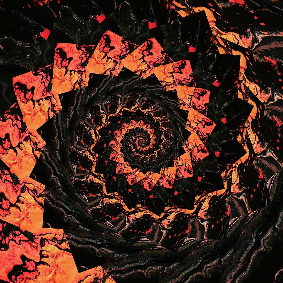 Infinity Tunnel Spiral Lava 4 Digital Art