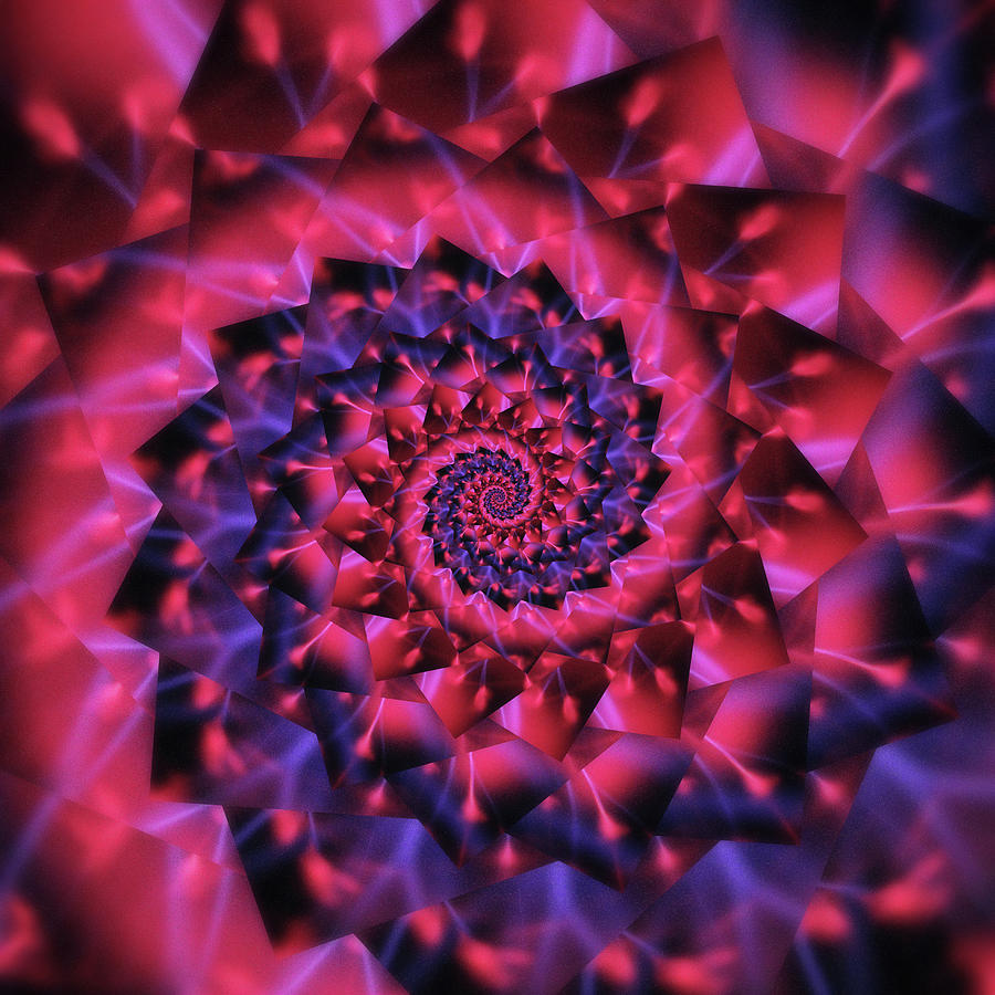 Infinity Tunnel Spiral Plasma Ball Red Digital Art