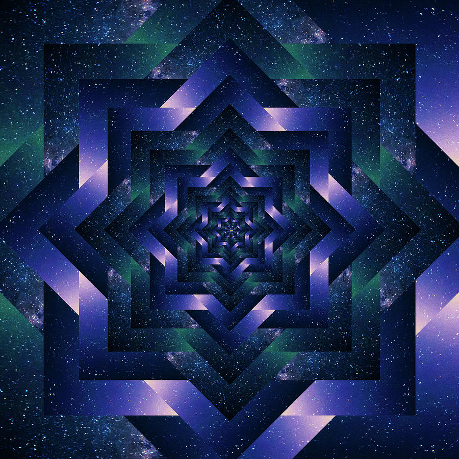 Infinity Tunnel Star Mount Rainier And The Milky Way Reflection Digital Art