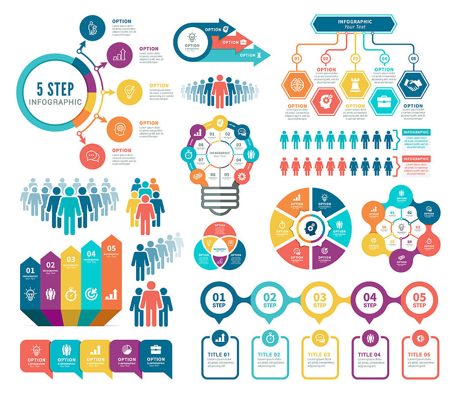 Infographic and Human Resources elements Drawing by Artvea