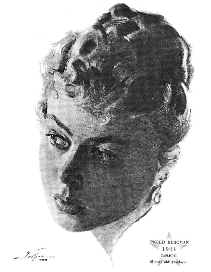 Ingrid Bergman By Volpe Drawing