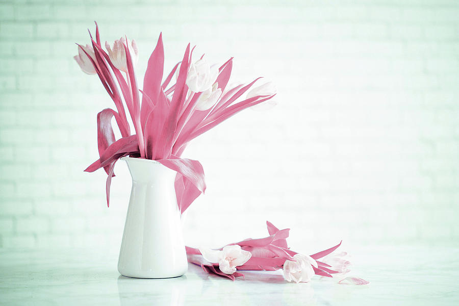 ink tulips on white vase - Surreal Art by Ahmet Asar Digital Art