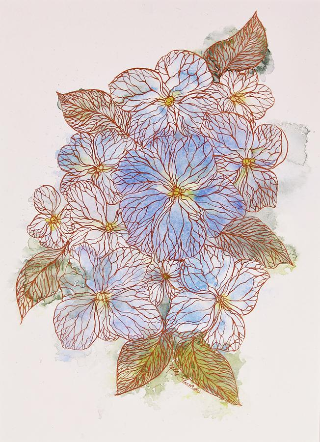 Watercolor Painting - Inked Floral #1 by Kelly Edwards
