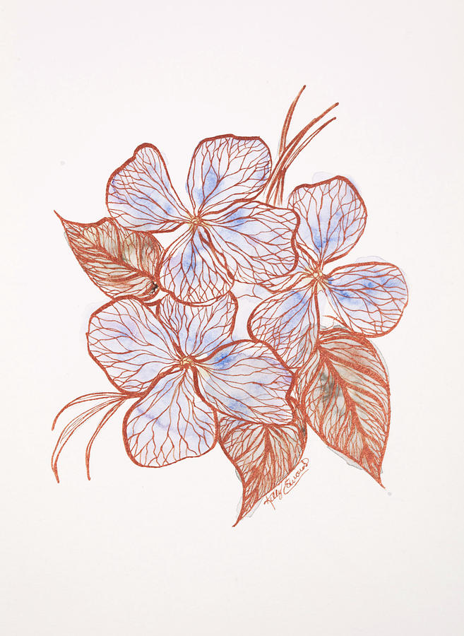 Watercolor Painting - Inked Floral #2 by Kelly Edwards
