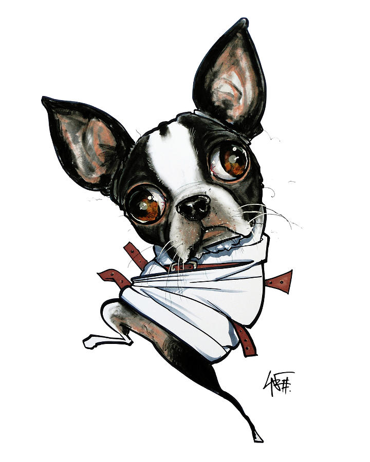 Insane Boston Terrier Drawing