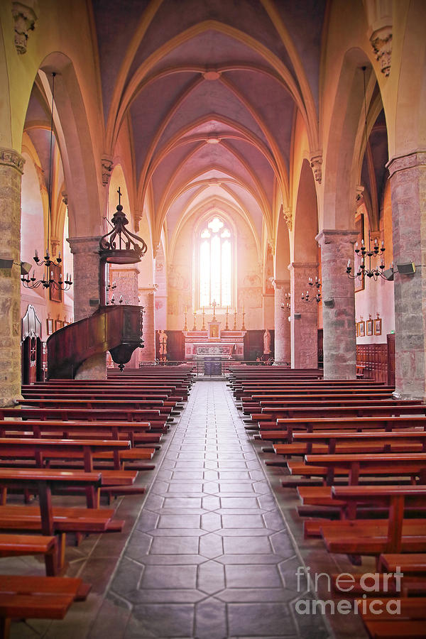 Inside french church of Cremieu in Isere by Gregory DUBUS