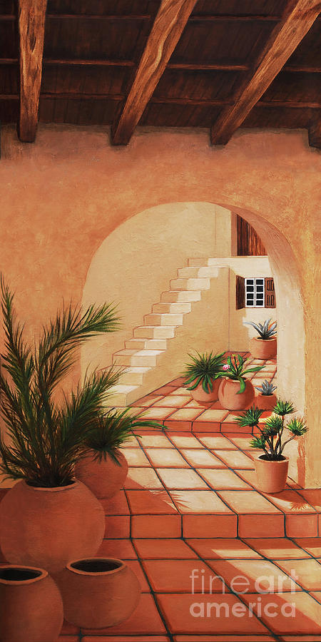 Santorini Painting - INSIDE THE VIEW OF SANTORINI-prints of Oil Painting by Mary Grden