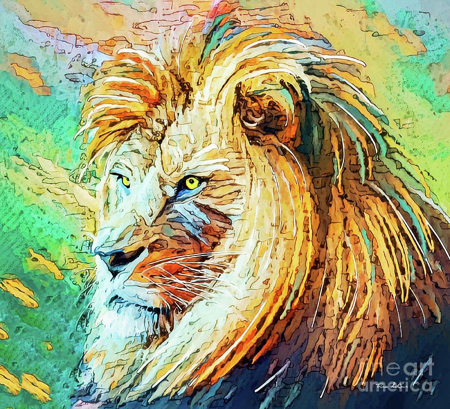 Intent Lion Mixed Media