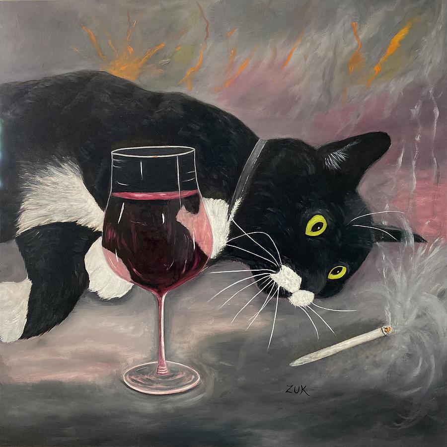 Intoxicate Cat Sq. Painting by Karen Zuk Rosenblatt