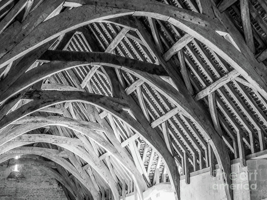 Intricate wooden roof interior of old hall by Richard Jemmett