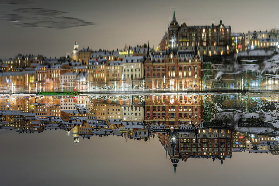 Stockholm Photograph - Inverted Dreamy Stockholm island ice reflection by Dejan Kostic