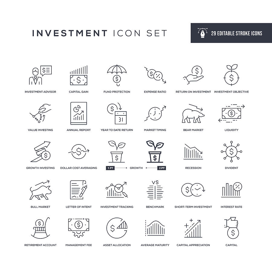 Investment Editable Stroke Line Icons Drawing by Enis Aksoy