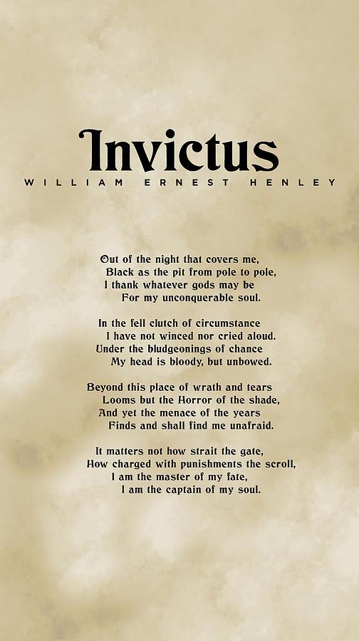 Invictus, William Ernest Henley - Typography Print 03 Mixed Media
