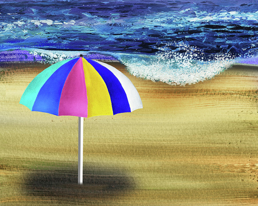Invitation To Relax Umbrella On The Sea Shore Beach Painting